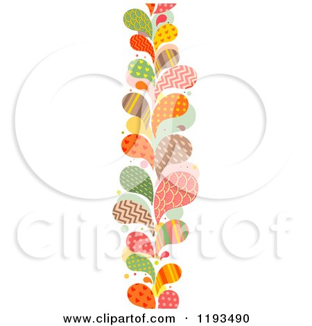 Cartoon of a Patterned Paisly Splash Vertical Border - Royalty Free Vector Clipart by BNP Design Studio