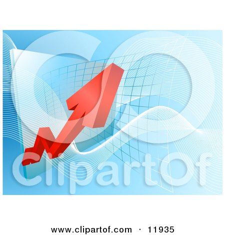 Red Arrow Showing an Increase of Profit on a Graph Posters, Art Prints