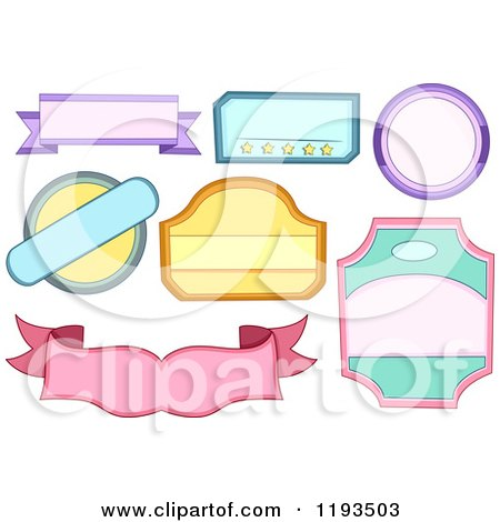 Cartoon of Colorful Blank Labels - Royalty Free Vector Clipart by BNP Design Studio