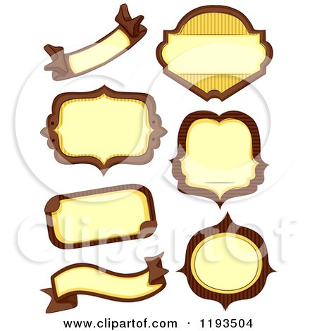 Cartoon of Brown and Yellow Blank Labels - Royalty Free Vector Clipart by BNP Design Studio