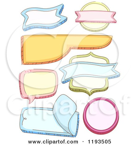 Cartoon of Colorful Shaped Labels - Royalty Free Vector Clipart by BNP Design Studio