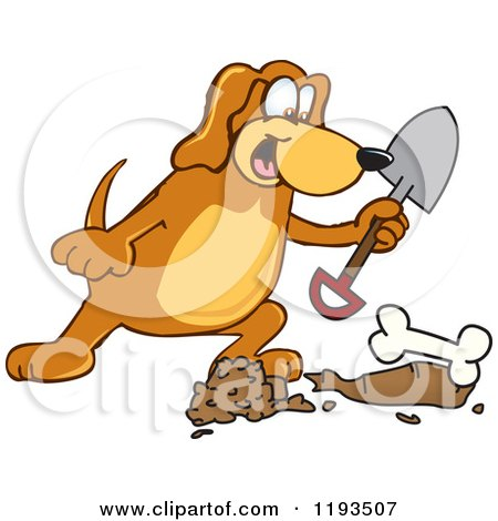 ... -Of-A-Hound-Dog-Mascot-Burying-A-Bone-Royalty-Free-Vector-Clipart.jpg