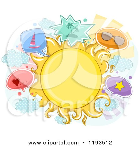 Cartoon of a Sun Frame and Summer Item Balloons - Royalty Free Vector Clipart by BNP Design Studio