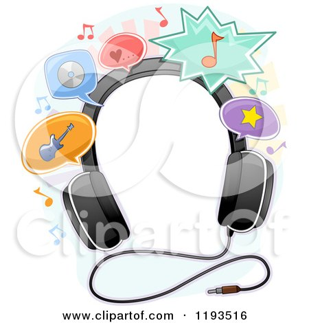 Cartoon of a Frame of Headphones and Music Balloons - Royalty Free Vector Clipart by BNP Design Studio