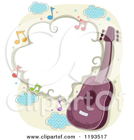 cartoon of a purple guitar and frame of music notes royalty free vector clipart by bnp design studio