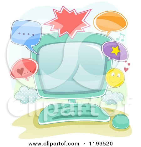 Cartoon of a Computer and Online Communication Frame - Royalty Free Vector Clipart by BNP Design Studio