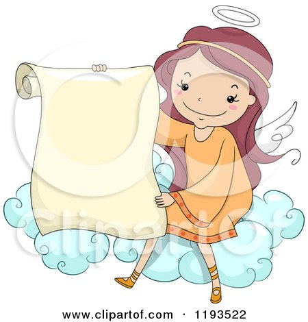 Cartoon of a Cute Angel Girl Holding a Scroll on a Cloud - Royalty Free Vector Clipart by BNP Design Studio
