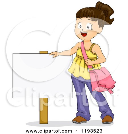 Cartoon of a Happy Brunette Girl Standing by a Sign - Royalty Free Vector Clipart by BNP Design Studio