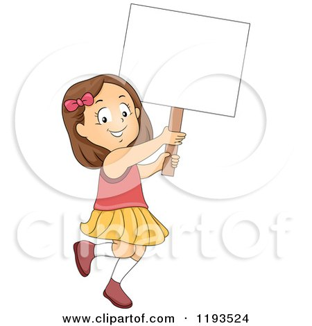 Cartoon of a Happy Brunette Girl Walking and Holding up a Sign - Royalty Free Vector Clipart by BNP Design Studio