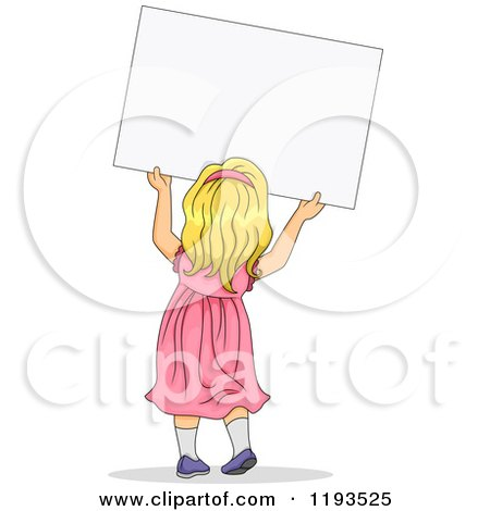 Cartoon of a Rear View of a Blond Girl in a Pink Dress, Holding up a Sign - Royalty Free Vector Clipart by BNP Design Studio