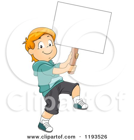Cartoon of a Happy Boy Marching with a Sign Board - Royalty Free Vector Clipart by BNP Design Studio