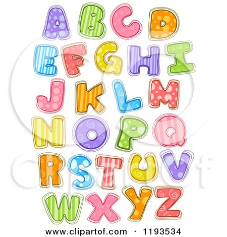 Cartoon of Colorfully Patterened Capital Letters - Royalty Free Vector Clipart by BNP Design Studio
