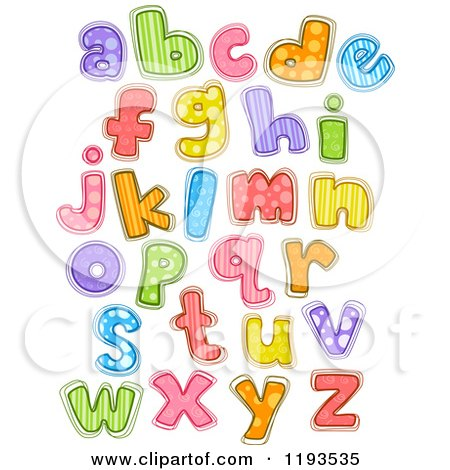 Cartoon of Colorfully Patterened Lowercase Letters - Royalty Free Vector Clipart by BNP Design Studio