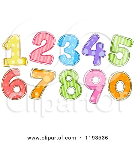 Cartoon of Colorfully Patterned Numbers - Royalty Free Vector Clipart by BNP Design Studio