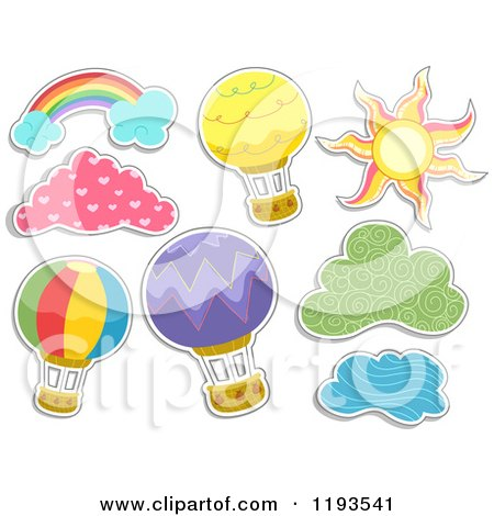 Cartoon of Sticker Styled Hot Air Balloons Clouds a Sun and Rainbow - Royalty Free Vector Clipart by BNP Design Studio