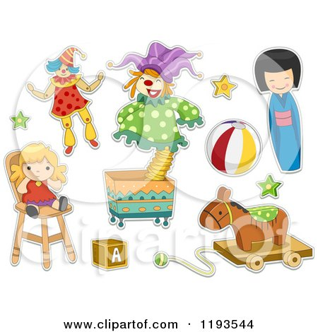 Cartoon of Sticker Styled Childrens Toys - Royalty Free Vector Clipart by BNP Design Studio