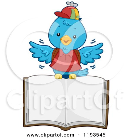 Cartoon of a Blue Bird Student Flying with an Open Book - Royalty Free Vector Clipart by BNP Design Studio