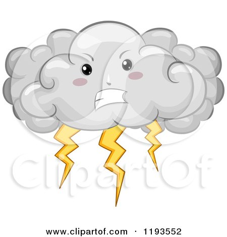 Cartoon of a Mad Lightning Storm Cloud Mascot - Royalty Free Vector Clipart by BNP Design Studio