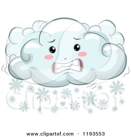Cartoon of a Cold Shivering Snow Cloud Mascot - Royalty Free Vector Clipart by BNP Design Studio