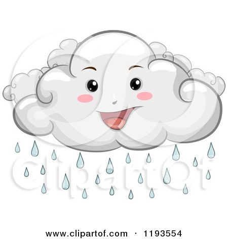 Cartoon of a Happy Rain Cloud Mascot - Royalty Free Vector Clipart by BNP Design Studio