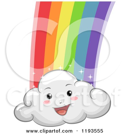 Cartoon of a Happy Cloud Mascot with a Rainbow - Royalty Free Vector Clipart by BNP Design Studio