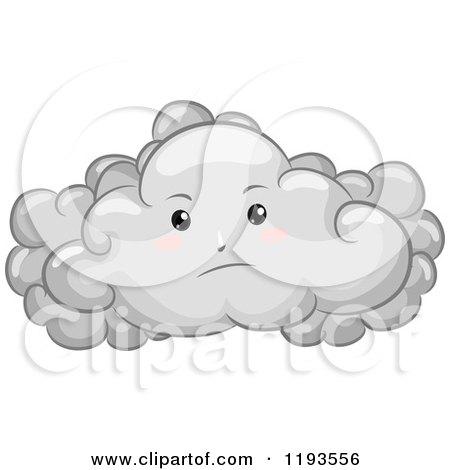 Cartoon of a Gloomy Cloud Mascot - Royalty Free Vector Clipart by BNP Design Studio