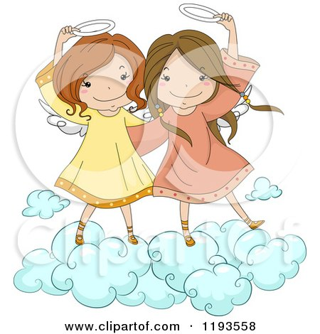 Cartoon of Cute Angel Girls Holding Their Halos on a Cloud - Royalty Free Vector Clipart by BNP Design Studio