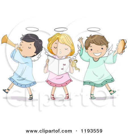 Cartoon of a Singing Angel Girl and Boys Playing Instruments - Royalty Free Vector Clipart by BNP Design Studio
