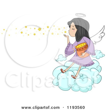 Cartoon of a Cute Angel Girl Blowing Stars into the Sky - Royalty Free Vector Clipart by BNP Design Studio