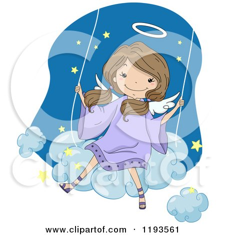 Cartoon of a Cute Angel Girl Swinging on a Cloud - Royalty Free Vector Clipart by BNP Design Studio
