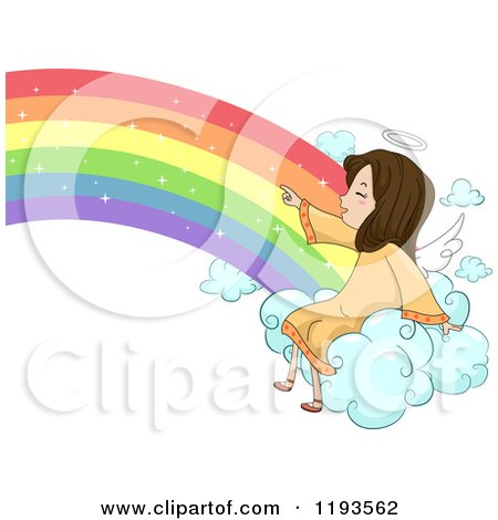Cartoon Of A Cute Angel Girl Sitting On A Rainbow Cloud And Pointing Royalty Free Vector Clipart