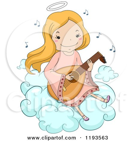 Cartoon Of A Happy Blond Angel Girl Playing A Lute On A Cloud Royalty Free Vector Clipart