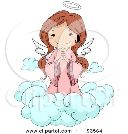 Cartoon of a Cute Angel Girl Praying on a Cloud - Royalty Free Vector Clipart by BNP Design Studio
