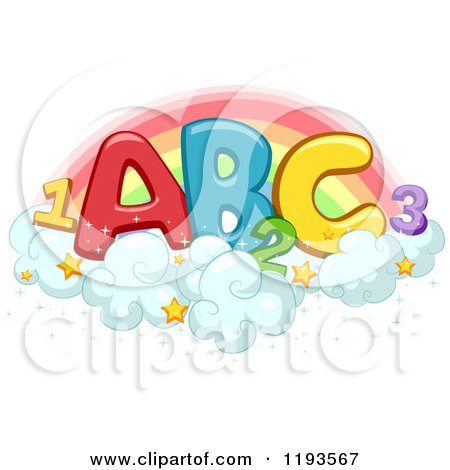 Cartoon of Colorful Abc and 123 on Starry Clouds Against a Rainbow - Royalty Free Vector Clipart by BNP Design Studio
