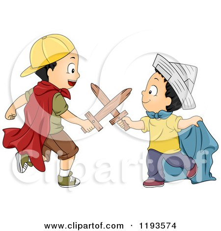 Cartoon of Playful Boys Battling with Wooden Swords and Wearing Costumes - Royalty Free Vector Clipart by BNP Design Studio
