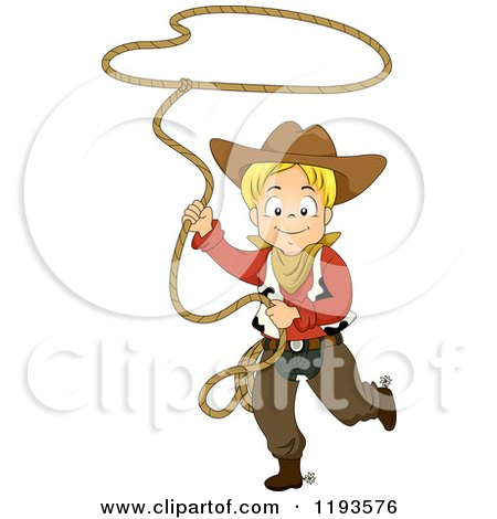Cartoon of a Happy Blond Cowboy Swinging a Lasso Rope - Royalty Free Vector Clipart by BNP Design Studio