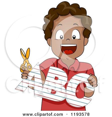 Cartoon of a Happy Black School Boy Holding an Abc Cutout - Royalty Free Vector Clipart by BNP Design Studio