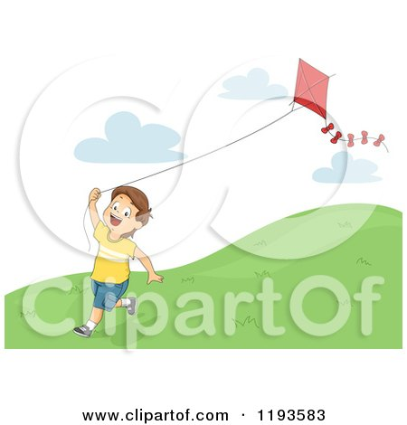 Clipart Happy Diverse Kids Flying Kites Royalty Free