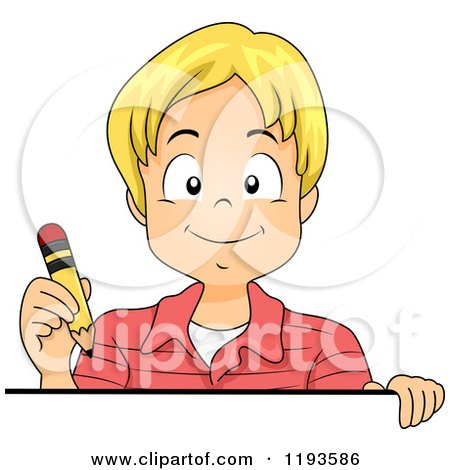 Cartoon of a Happy Blond Caucasian Boy Holding a Pencil over a Sign - Royalty Free Vector Clipart by BNP Design Studio