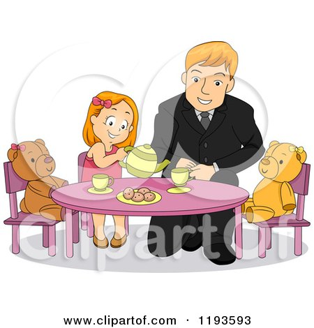 Cartoon of a Happy Father Playing Tea Party with His Daughter - Royalty Free Vector Clipart by BNP Design Studio