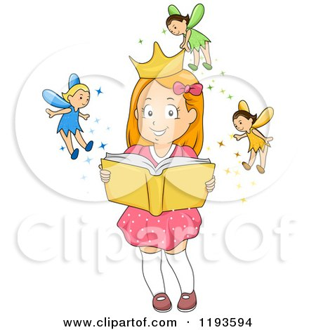 Cartoon of a Happy Girl Imagining Fairies Putting a Crown on Her Head As She Holds a Book - Royalty Free Vector Clipart by BNP Design Studio