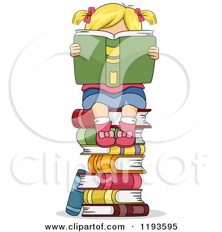 Cartoon of a Blond Girl Hidden Behind a Book on Top of a Stack of Books - Royalty Free Vector Clipart by BNP Design Studio