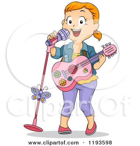 Cartoon of a Happy Girl Sining and Playing a Pink Guitar - Royalty Free Vector Clipart by BNP Design Studio