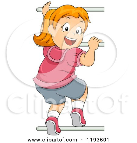 Cartoon of a Happy Red Haired Girl Looking Back and Climbing Monkey Bars - Royalty Free Vector Clipart by BNP Design Studio