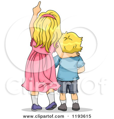 Cartoon of a Big Sister and Little Brother Looking up and Pointing - Royalty Free Vector Clipart by BNP Design Studio
