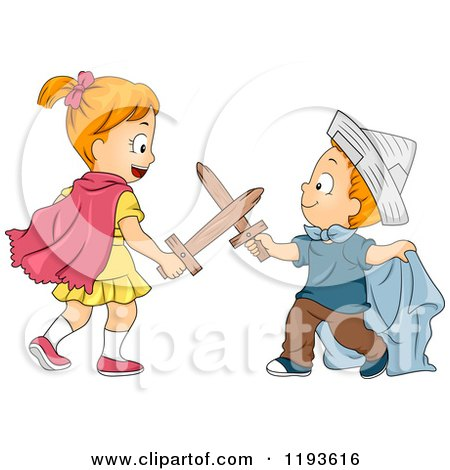 Cartoon of a Big Sister and Little Brother Playing Swords in Costumes - Royalty Free Vector Clipart by BNP Design Studio