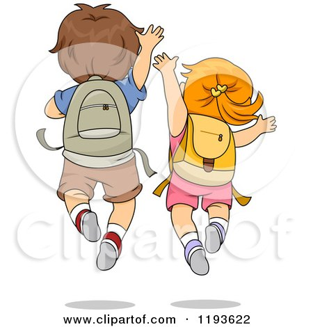 Cartoon of a Rear View of an Excited School Boy and Girl Jumping - Royalty Free Vector Clipart by BNP Design Studio