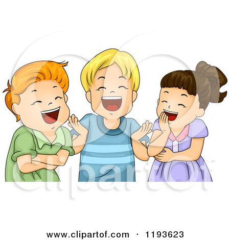 Cartoon of a Girl and Toy Boys Laughing - Royalty Free Vector Clipart by BNP Design Studio