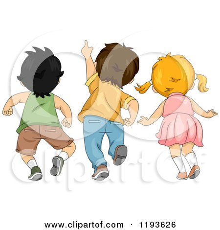 Cartoon of a Rear View of Three Children Looking and Pointing Upwards - Royalty Free Vector Clipart by BNP Design Studio
