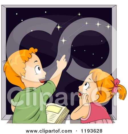 Cartoon of a Boy Teaching His Sister About the Constellations in the Night Sky - Royalty Free Vector Clipart by BNP Design Studio